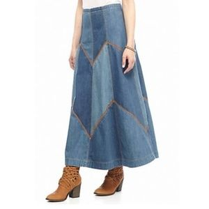 Free People Denim Patched Skirt Bliss Made-NEW